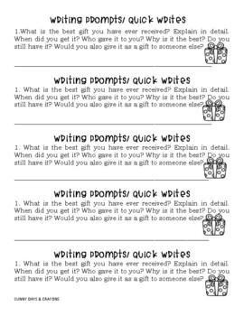 FREE ~ CHRISTMAS WRITING PROMPTS
