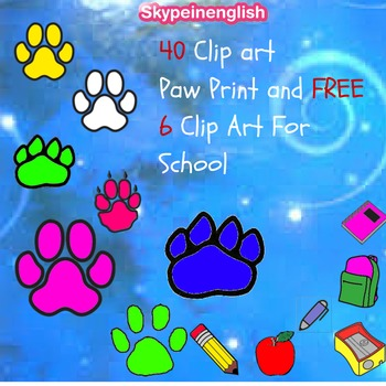 FREE SAMPLE CLIP ART: Paw Prints and School Stuff