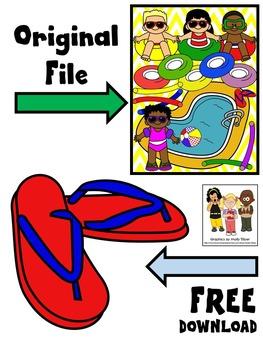 FREE CLIP ART * POOL PARTY CLIP ART * FLIP FLOPS