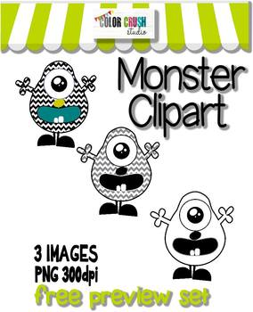 FREE COLOR AND BLACK & WHITE LINE ART MONSTER CLIPART