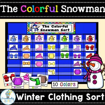 FREE COLOR SORT: Colorful Snowman