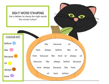 FREE COLOUR CODED SIGHT WORD STAMPING