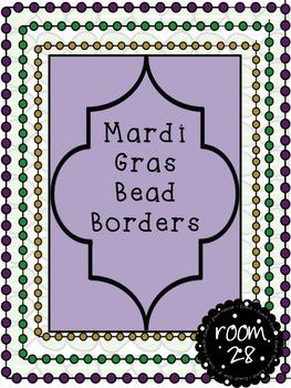 "FREE COMMERCIAL USE ""Mardi Gras""  Dot Bead Borders"