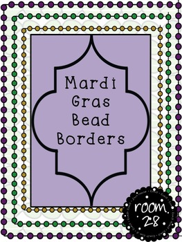 "FREE COMMERCIAL USE ""Mardi Gras""  Dot Bead Borders"