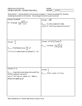 FREE Calculus Resources -- circuits and card sorts!