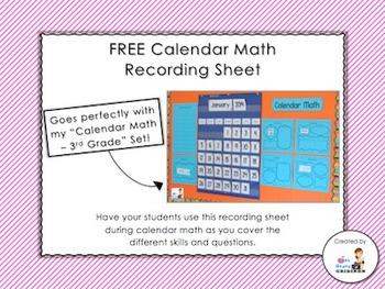 FREE Calendar Math Recording Sheet
