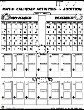 FREE: Calendar Math Worksheet For Grades K-2 (Addition)
