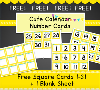 FREE! Calendar Number Cards 1-31, RTI Number Cards, Game Cards