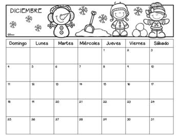 FREE Calendario mes de Diciembre