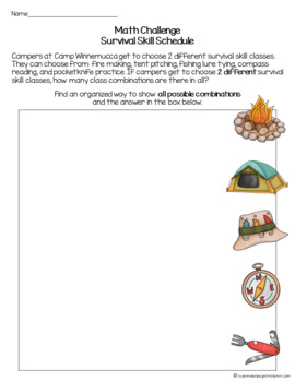 Camping Themed Activities 2nd-3rd | Math Challenge Problem FREE