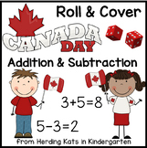 FREE Canada Day Roll & Cover Addition & Subtraction Games