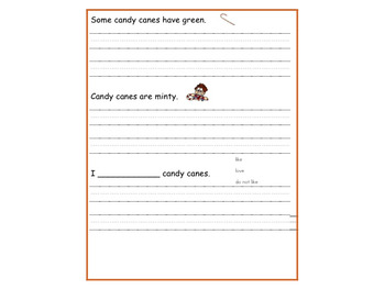FREE Candy Cane Copy the Sentence Handwriting Practice
