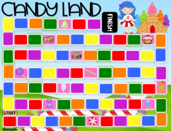 Candy Land Pink Cards and Game Board