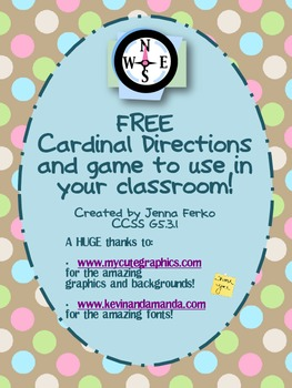 FREE Cardinal Directions and Game - CCSS G5.3.1