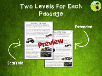 Cars! One Free Close Reading Comprehension Text/Higher Order Thinking Activities