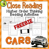 Cars! One Free Close Reading Comprehension Text/Higher Ord
