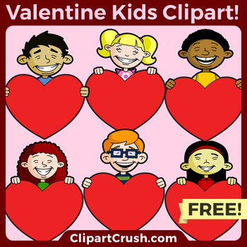 FREE Cartoon Ethnic Kids Holding Hearts Clipart Valentine's Day Clip Art Freebie