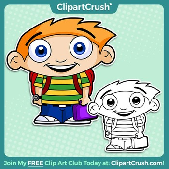 Royalty Free Cute Cartoon School Boy with Backpack & Lunchbox Clipart Character!
