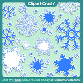 Royalty Free Cartoon Snowflake Clipart Set - 8 Snowflake Accents!