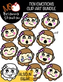 FREE Caucasian Girl Ten Emotions Clip Art Bundle in Color and B&W
