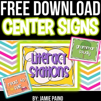 FREE Center and Station Classroom Signs