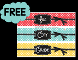 FREE Chalkboard Labels - Classroom Decor - File - Copy - Grade