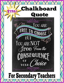 FREE! Chalkboard Quote for Secondary Teachers