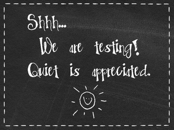 FREE Chalkboard Testing Door Sign!  Shhhh!