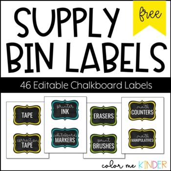 46 Editable Supply Bin Chalkboard Theme Labels