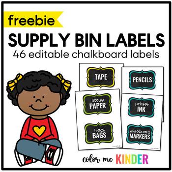 FREE Chalkboard Themed Supply Bin Labels