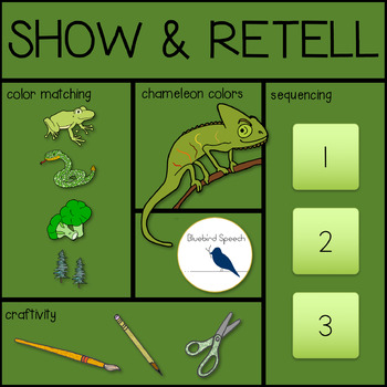 FREE Show & Retell Chameleon Speech Therapy Craftivity: Sequencing   Matching