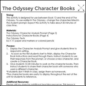 FREE Character Activity for Homer's The Odyssey