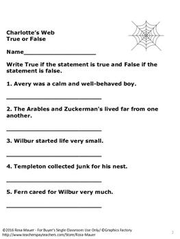 FREE Charlotte's Web True or False Quiz