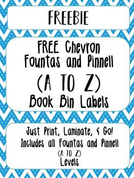 FREE Chevron Library Book Bin Labels