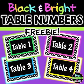 Black and Bright Table Numbers FREEBIE