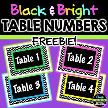 FREE Black Chevron Table Numbers