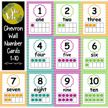 FREE!  Chevron Wall Number Signs 1-10 displaying Ten Fame, Number, and Word
