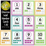 FREE!  Chevron Wall Number Signs 1-10 displaying Ten Fame,