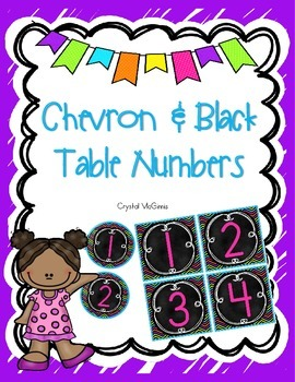 FREE Bright Chevron and Black Table Numbers