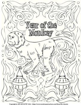 FREE Chinese New Year Coloring Sheet,Year of The Monkey