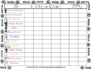 free chore charts and fill in the blank charts by the traveling