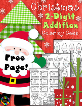 FREE Christmas 2-Digit Addition with Regrouping Color-by-Code Printable