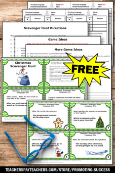 FREE Christmas Activities, Literacy Centers SCOOT Scavenger Hunt Games