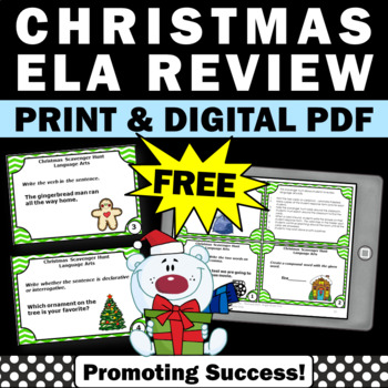 Christmas Freebie, English Language Arts Task Cards, Christmas Literacy Centers