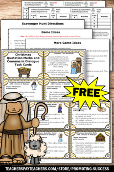 FREE Religious Christmas Activities Quotation Marks Task Cards