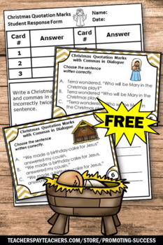 FREE Religious Christmas Activities Quotation Marks Task Cards, Christian Ed