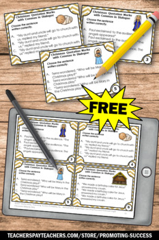 FREE Religious Christmas Activities Quotation Marks Task Cards ...