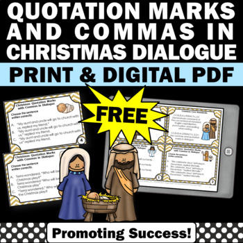 FREE Religious Christmas Activities Commas and Quotation Marks Task Cards