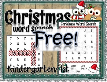 FREE! Christmas Activity: Word Search for Kindergarten, 1st