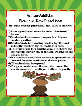 FREE Addition Game - Winter 5-in-a-Row!